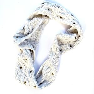 Steve Madden Infinity Cable Knit Studded Scarf